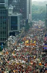 a portion of the crowd taking part in the recent People's Climate March in New York.
